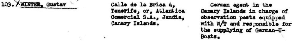 Document from the former Office of Strategic Services shows that Gustav Winter was a German agent in the Canary Islands