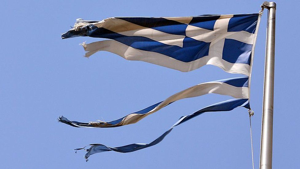Damaged Greek flag