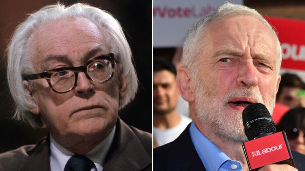 Michael Foot and Jeremy Corbyn