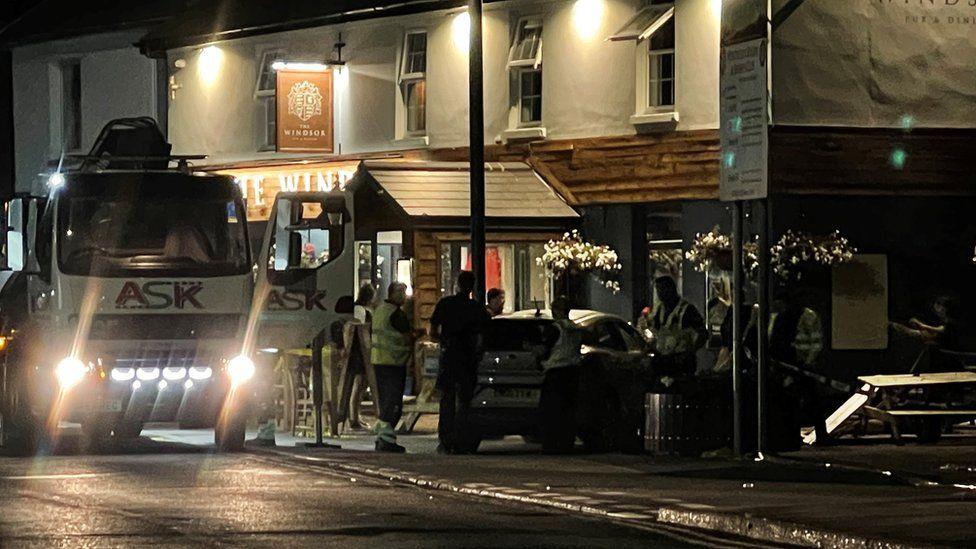 The Car crashed into a pub