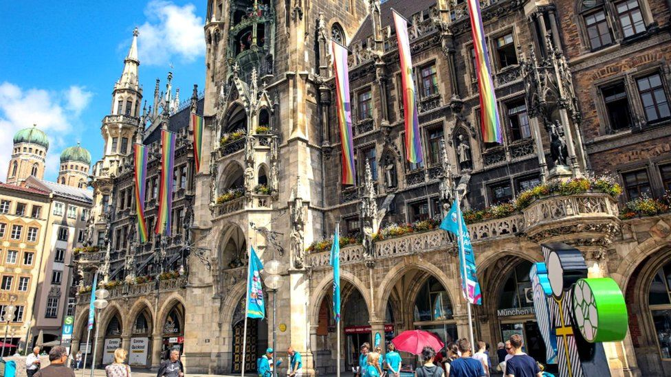 Munich town hall posted a picture on social media showing the facade decorated in rainbow flags