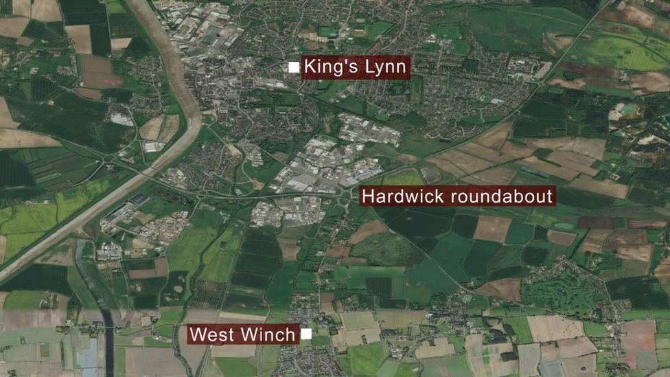 Map showing King's Lynn and West Winch