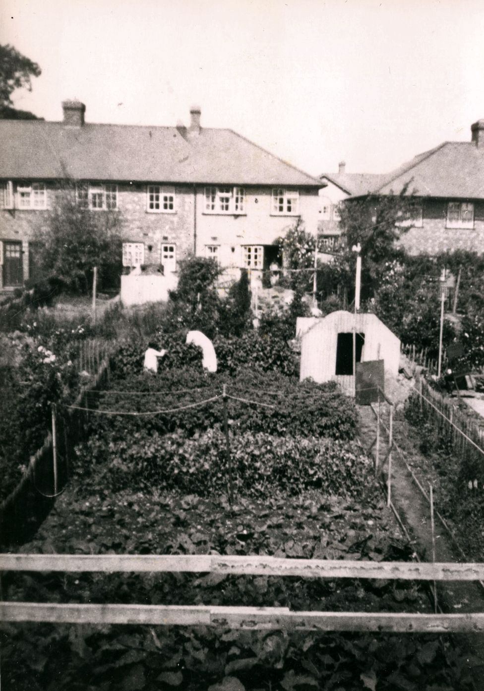 Freda Peach's mother and sister in their council house garden