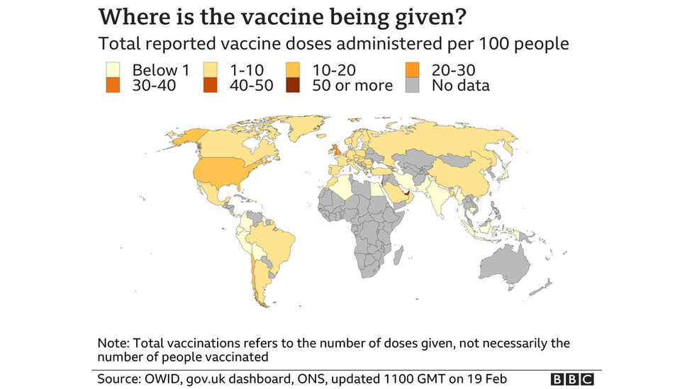 Map of the world showing the number of vaccine doses given per 100 people in each country