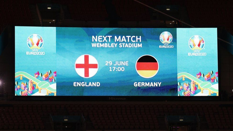 A Wembley screen previewing the England-Germany match
