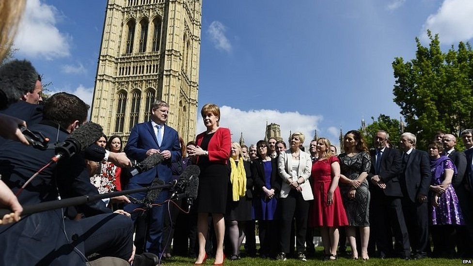Nicola Sturgeon speaking outside the House of Commons