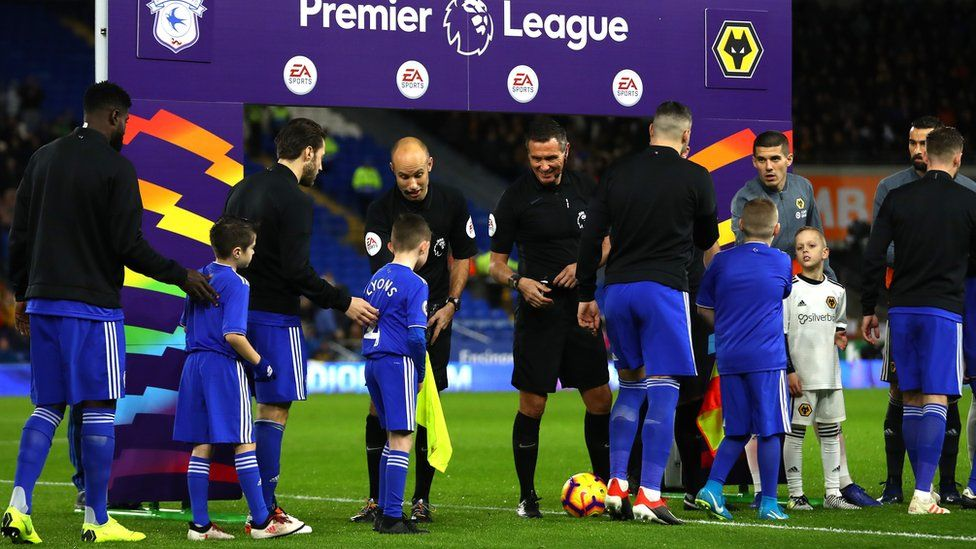 Mascots at Cardiff City v Wolves in Premier League