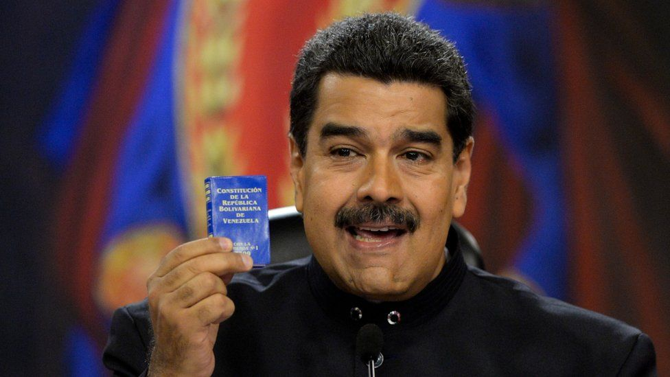 Venezuelan President Nicolas Maduro speaks during a press conference for foreign correspondents at the Miraflores presidential palace in Caracas on June 22, 2017.