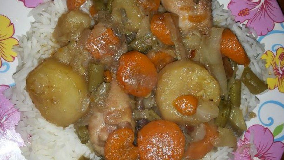 A vegetable stew with white rice