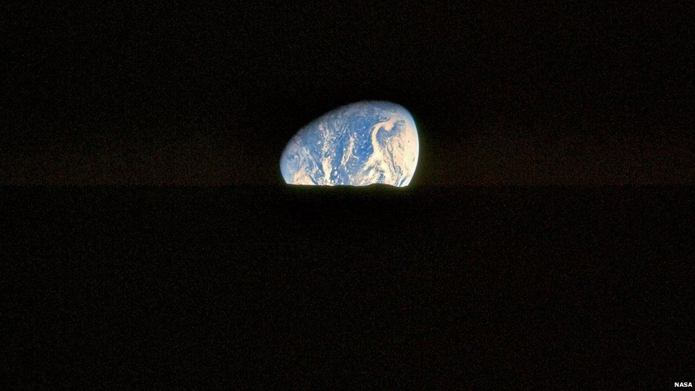 "This is an ""Earthset"", as photographed by the crew of Apollo 17 during lunar orbit. It's one of Kipp's favourites"
