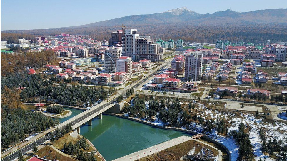 Buildings and construction sites are seen in Samjiyon County on October 16, 2019