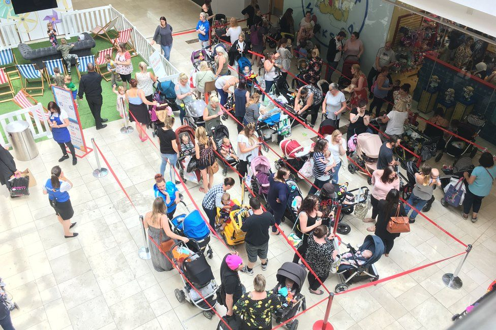 Queues outside the Derby store of Build-a-Bear