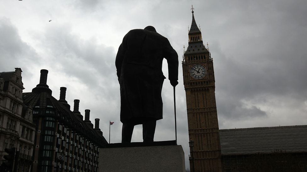 Churchill statue outside the Houses of Parliament on a grey day