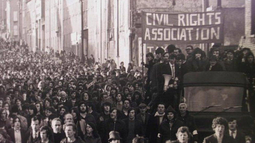 Civil rights marchers on the streets of Derry on Bloody Sunday