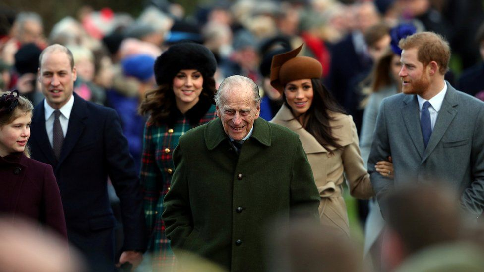 Prince Philip with other members of Royal Family at the Christmas Day church service at Sandringham on 25 December 2017