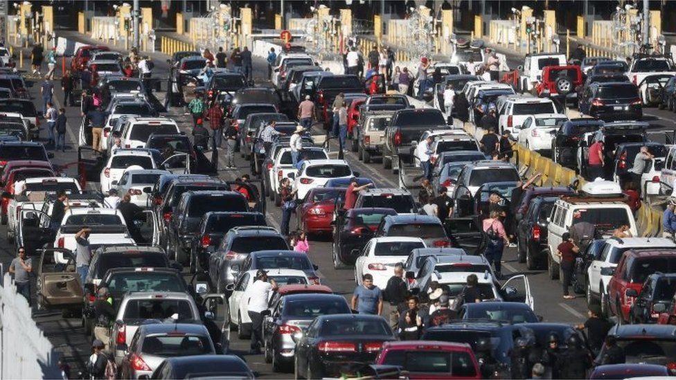 Long queues form at the San Ysidro border crossing