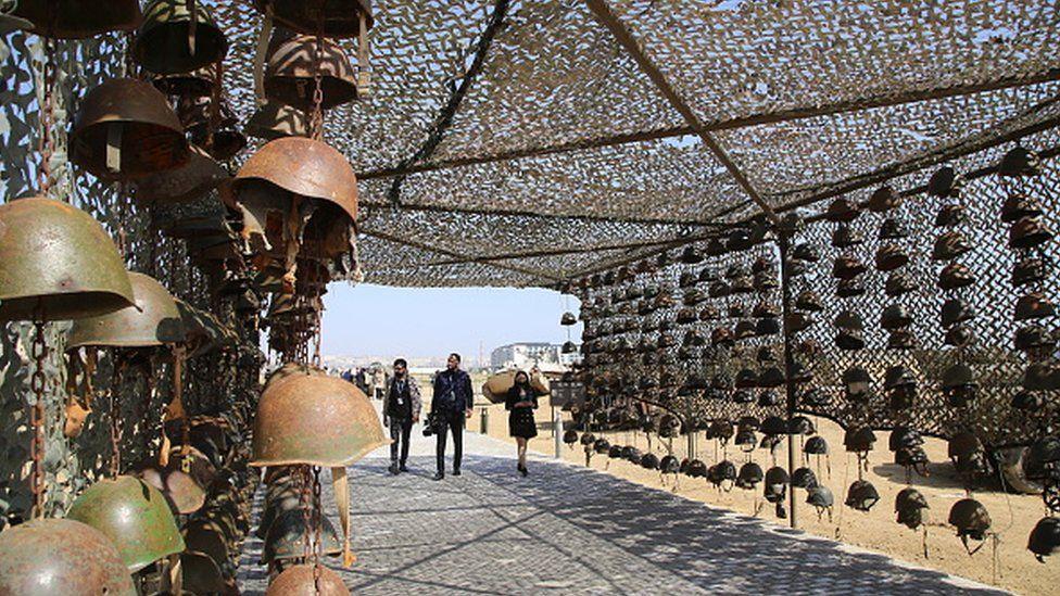 Helmets are displayed at the Spoils of War open air museum in Baku, Azerbaijan