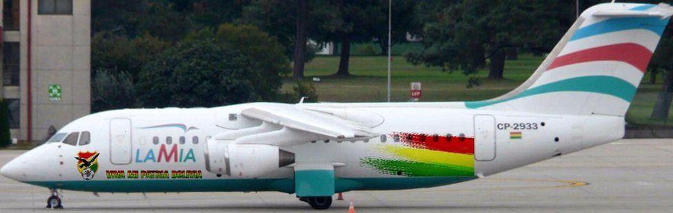 The BAE 146 Avro RJ85 Lamia plane used by the Brazilian soccer team Chapecoense