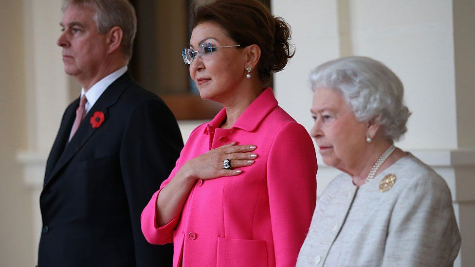 Dr Nazarbayeva with The Queen and Prince Andrew in 2015