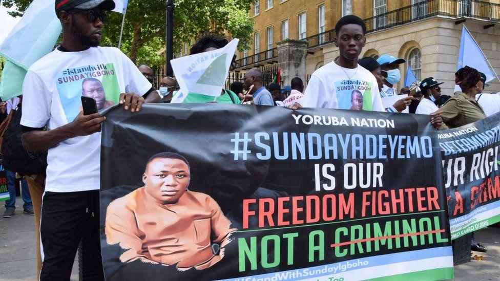 Yoruba Nation protesters in London