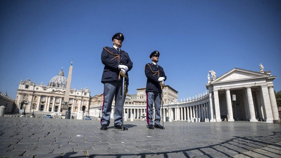 A view of the deserted St. Peter's Square during Easter Sunday Mass behind closed doors in St. Peter's Basilica