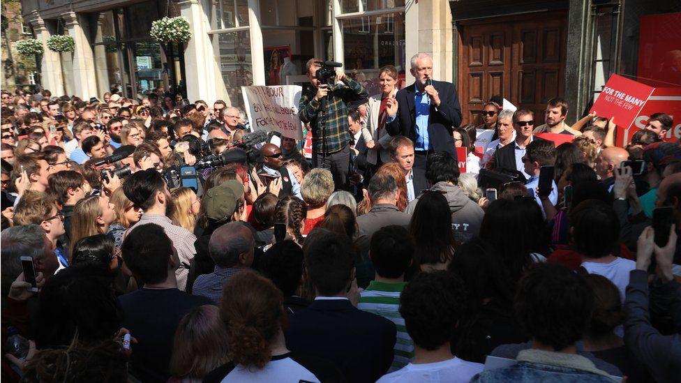 Jeremy Corbyn addressing a crowd in York