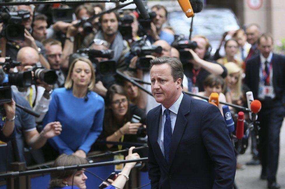 UK Prime Minister David Cameron in Brussels, 28 June