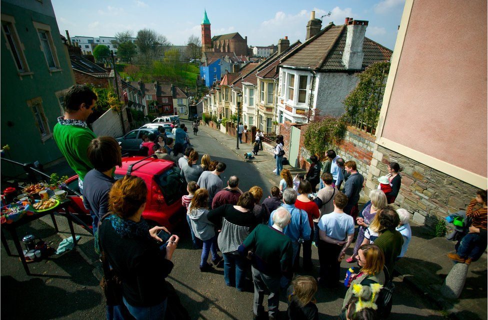 Egg rolling on Easter Sunday on Vale Street