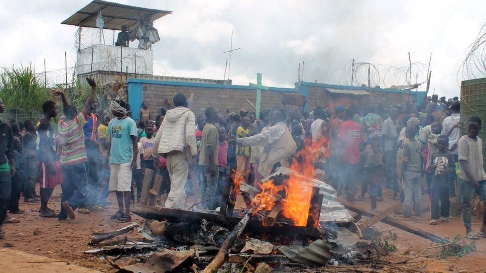 A protest at the UN HQ in Beni, DR Congo