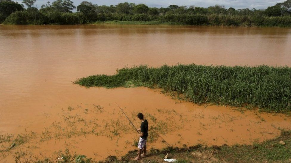 Rio Doce pollution in Linhares, Brazil, 21 Nov 15