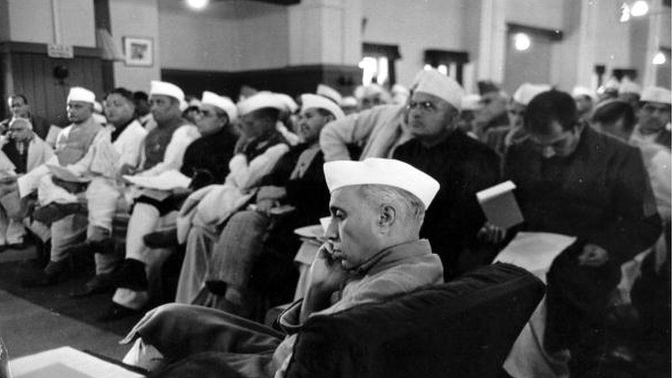 Indian statesman Jawaharial (Pandit) Nehru (1889 - 1964) attending the Constituent Assembly meeting at the Council House Library, New Delhi, to frame a constitution for Independent India. Original Publication: