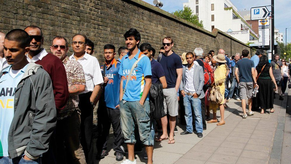 Indian fans queue before and England v India test at Lord's