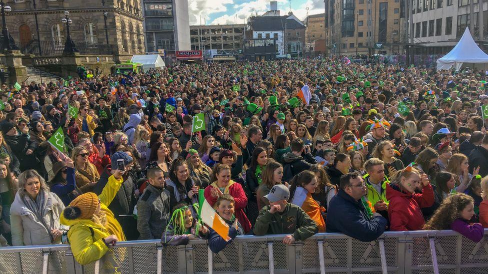 St Patrick's Day crowds in Belfast