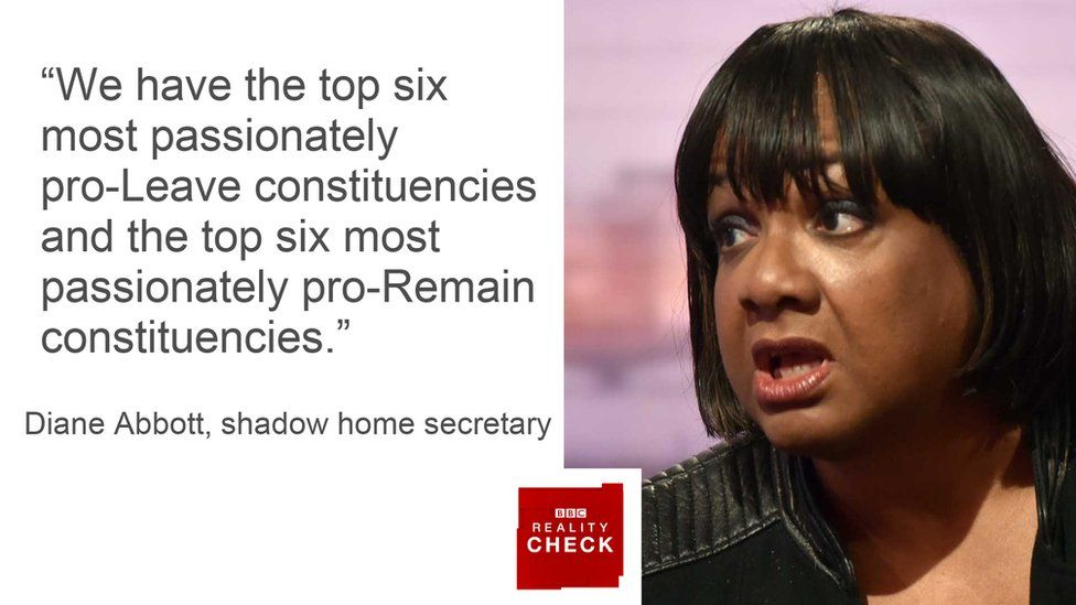 Diane Abbott saying: We have the top six most passionately pro-Leave constituencies and the top six most passionately pro-Remain constituencies.