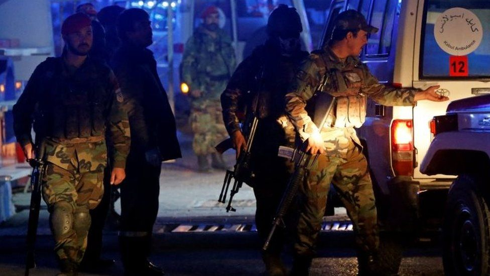 Afghan security forces at the scene of the blast in Kabul. Photo: 20 November 2018