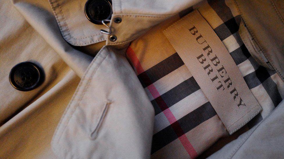 Burberry label on clothes