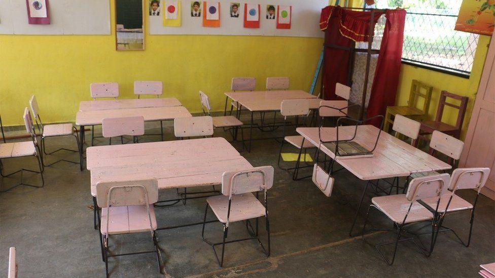 An empty classroom in the school