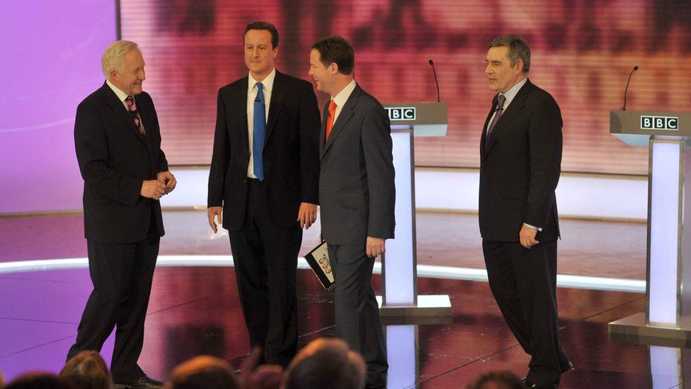 'I agree with Nick': David Dimbleby with David Cameron, Nick Clegg and Gordon Brown