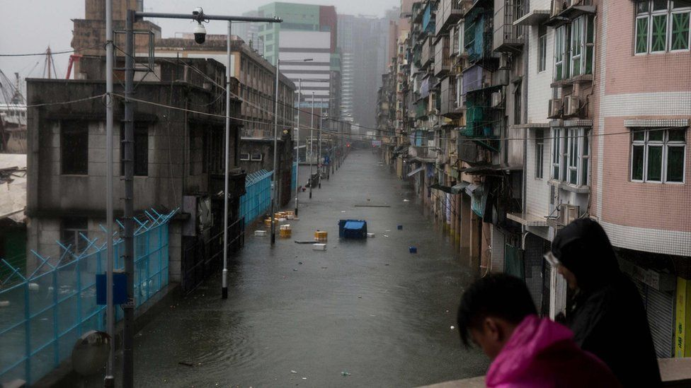 A street flooded by a storm surge during Super Typhoon Mangkhut in Macau on 16 September 2018.