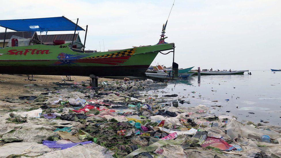 Plastic debris on the beach in Sulawesi, Indonesia