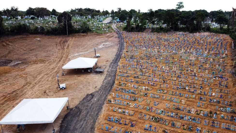 Aerial view showing graves in the Nossa Senhora Aparecida cemetery in Manaus, Brazil