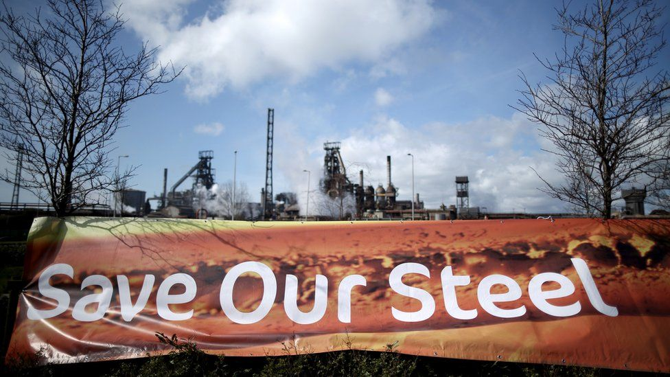 A banner declaring 'Save our Steel' is erected outside the Tata Steel plant at Port Talbot on March 30, 2016 in Port Talbot, Wales