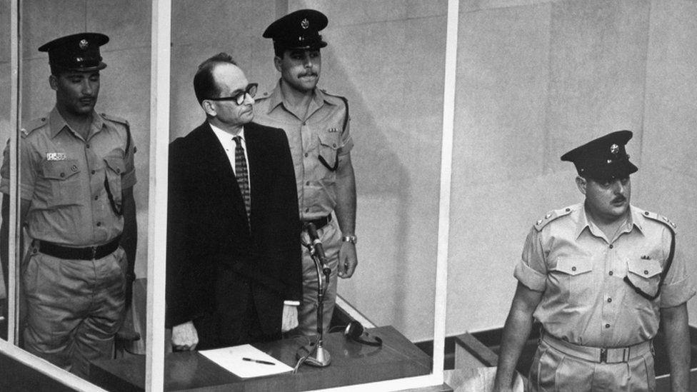 Adolf Eichmann in court in Israel