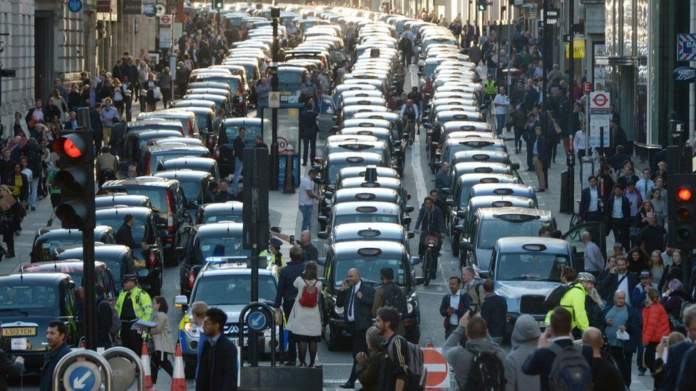 Black taxis protesting against Uber