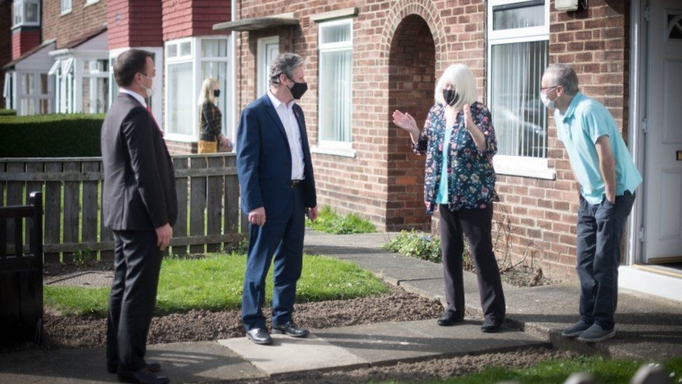 Sir Keir Starmer and Dr Paul Williams campaign on the doorstep in Hartlepool