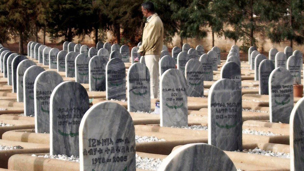 Picture taken 18 May 2007 shows an Eritrean war-veteran visiting a war cemetery in Asmara. Eritrean fighters liberated Asmara in 1991 from Ethiopian forces after a bloody 30-year guerrilla war, finally achieving independence in a 1993 referendum