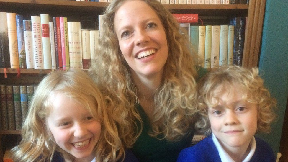 Nina Hoffman, with her children Benjamin and Sophia, fears she may have to leave the UK