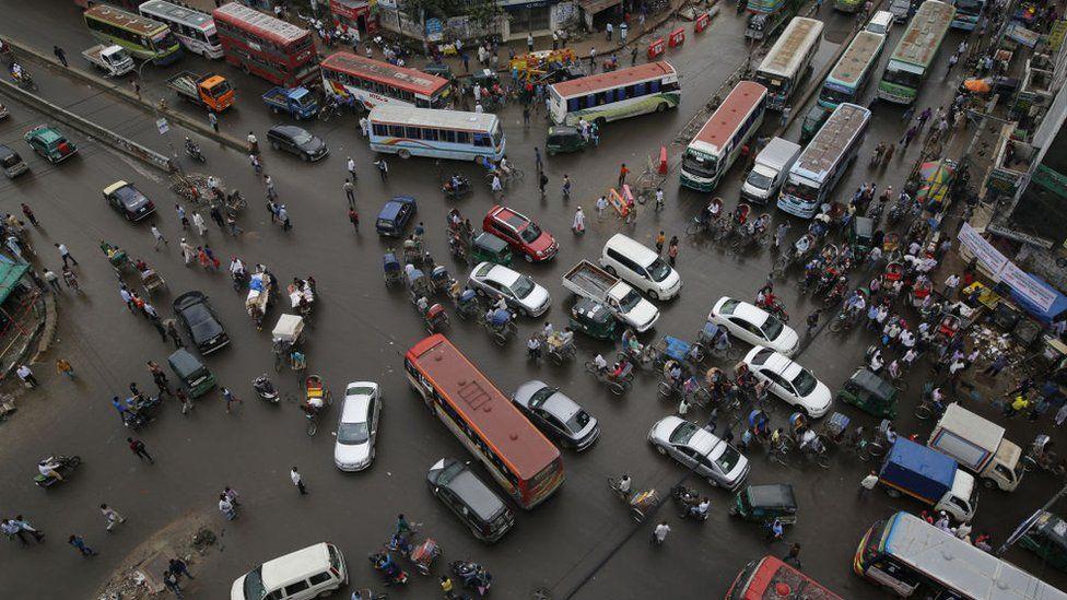A traffic jam at an intersection in Dhaka, Bangladesh