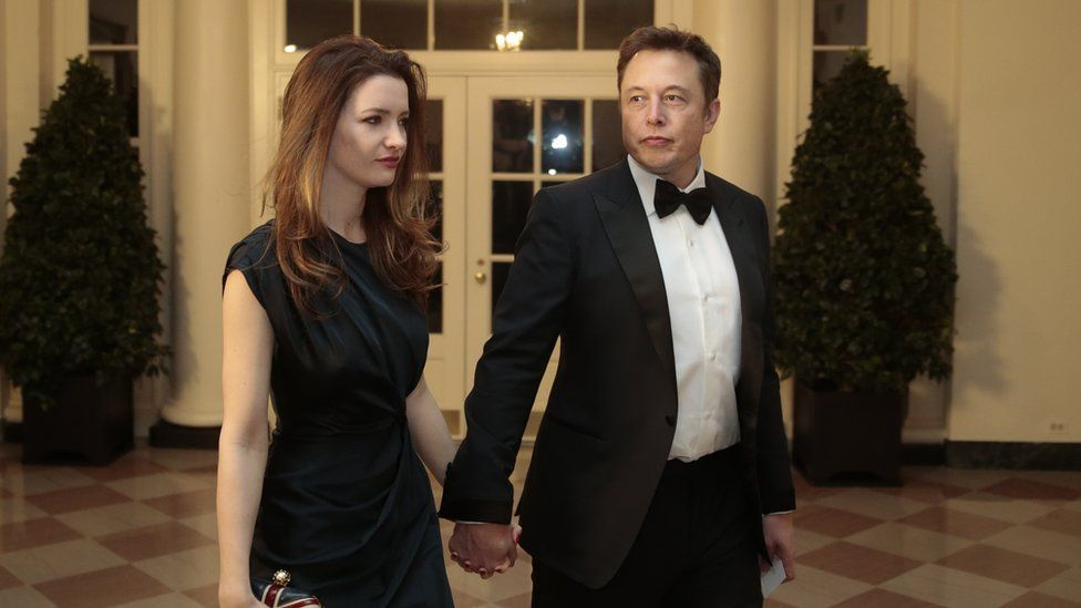 Elon Musk and then-wife Talulah Riley arrive at the White House in February 2014