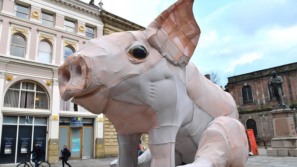 Giant piglet marks Chinese New Year in Manchester